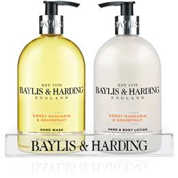 Baylis & Harding Sweet Mandarin & Grapefruit 2 Bottle Set in a Clear Acrylic Rack