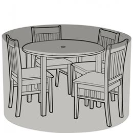 4 Seater Round Furniture Set Cover Black