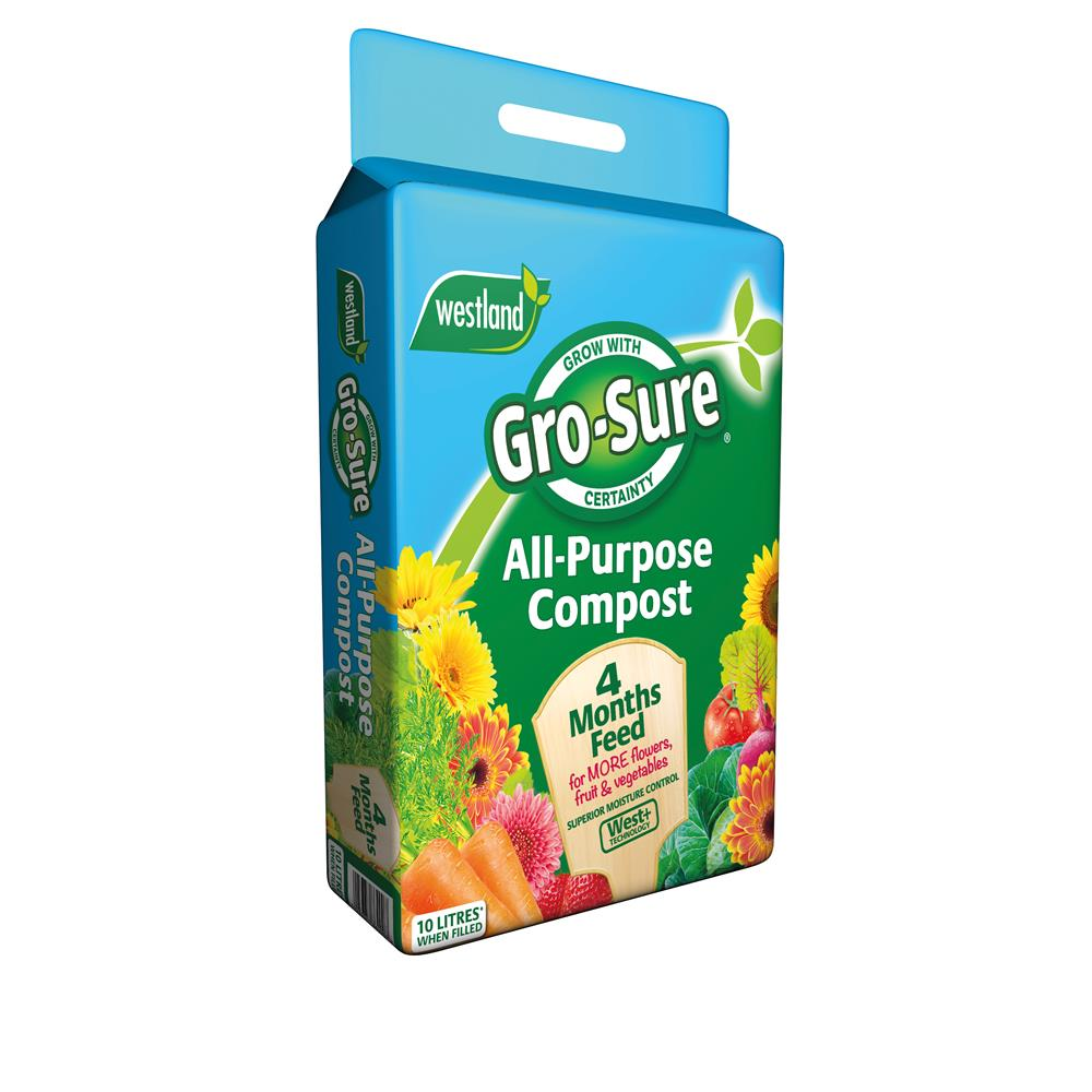 Gro-Sure All-Purpose Compost Pouch & 4 Month Feed 10L