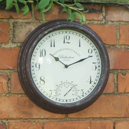 "Bicketeron Wall Clock & Thermometer 12"" 30Cm"
