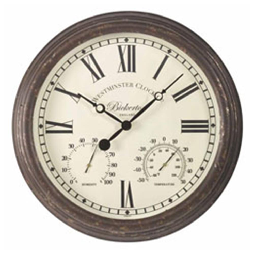 "Bicketeron Wall Clock & Thermometer 15"" 38Cm"