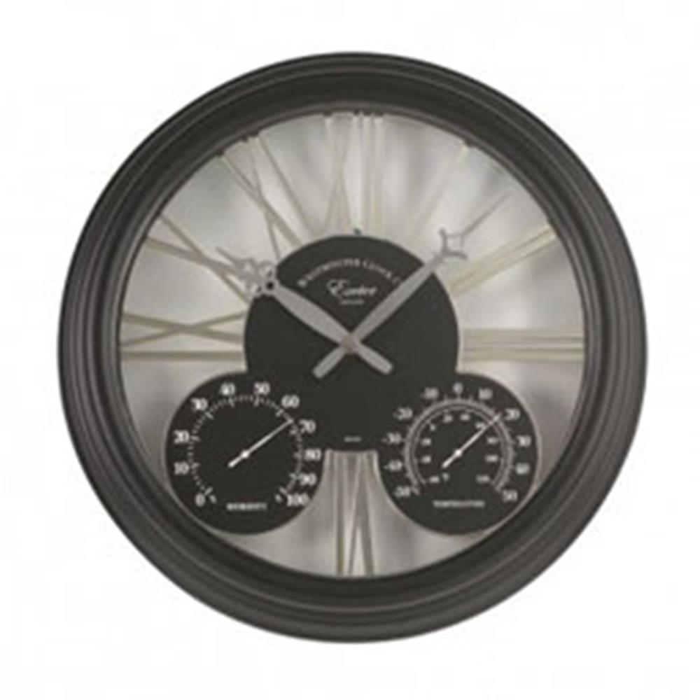 "Exeter Wall Clock & Thermometer - Black 15"" 38Cm"