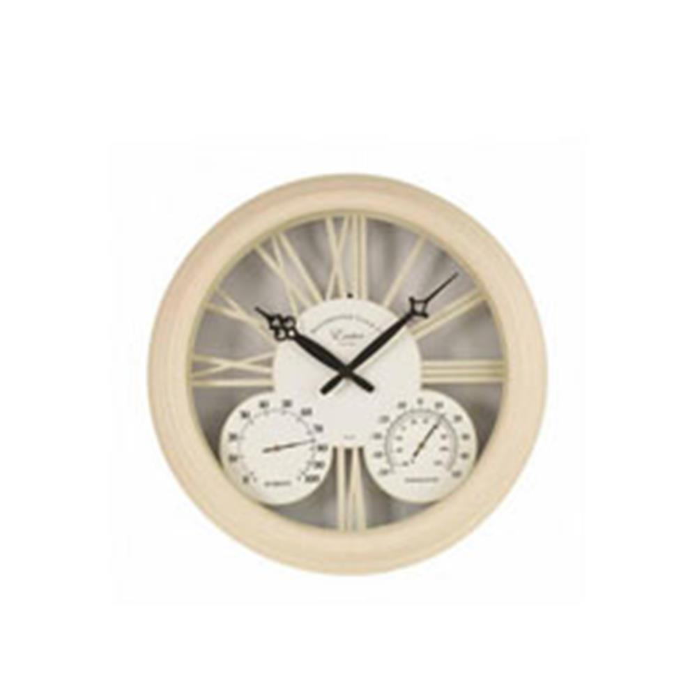 "Exeter Wall Clock & Thermometer - Cream 15"" 38Cm"