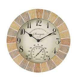 "Stonegate Wall Clock & Thermometer 10"" 25Cm"