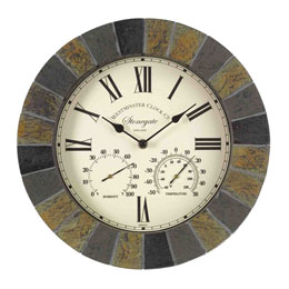 "Stonegate Wall Clock & Thermometer 14"" 35Cm"