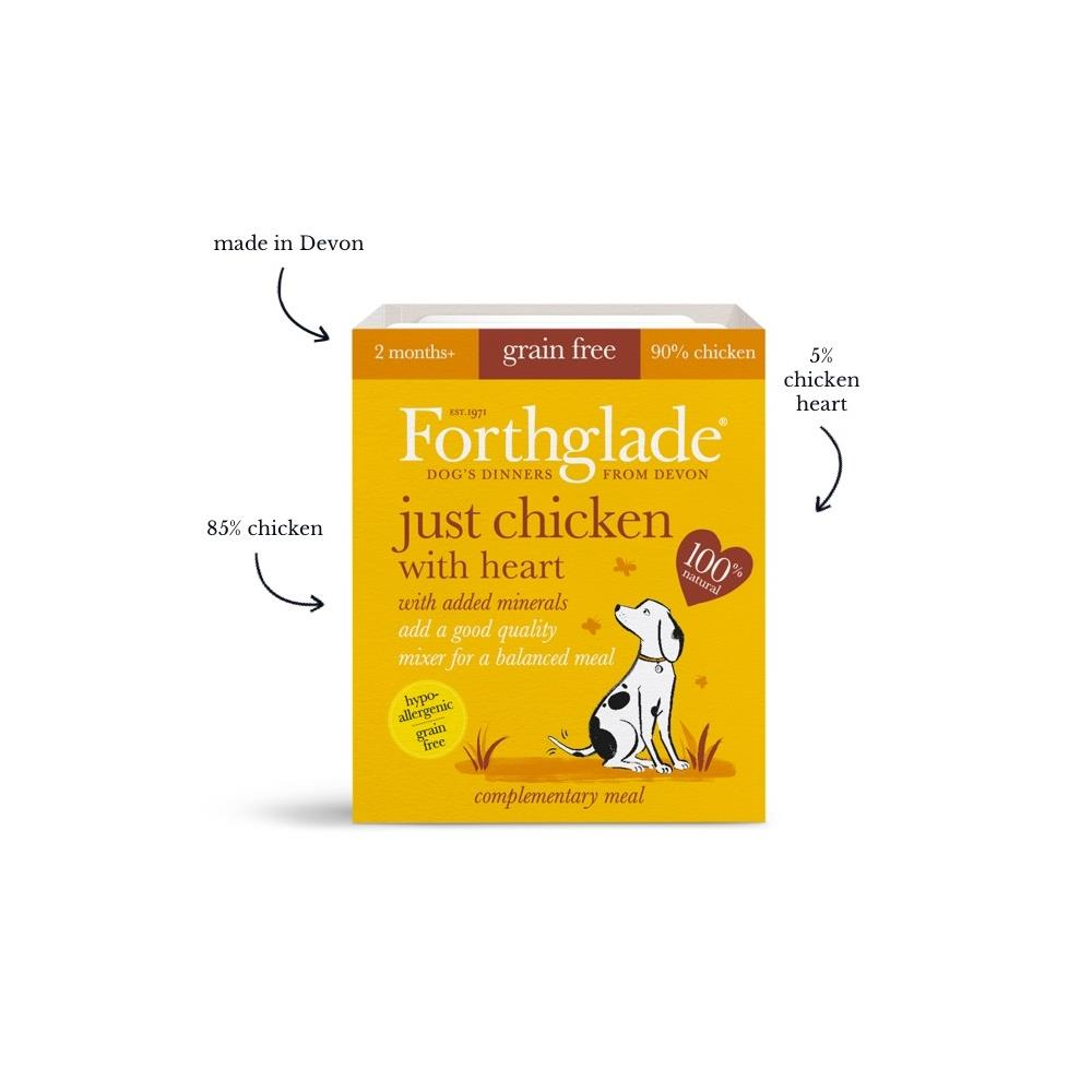 Forthglade Just chicken with heart natural wet dog food (395g)