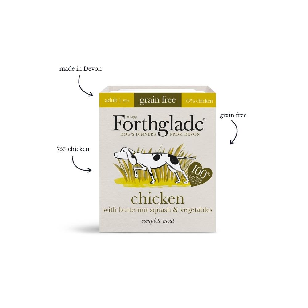 Forthglade Chicken with butternut squash & vegetables natural wet dog food (395g)