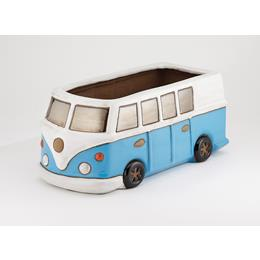Glazed Blue Camper Van Planter