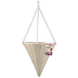"14"" Seashell Faux Rattan Hanging Cone"