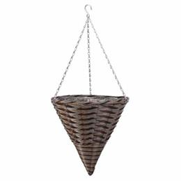 "14"" Pinto Faux Rattan Hanging Cone"