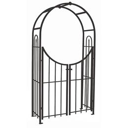 Arched Top Garden Arch with Gate - Black SAVE £50