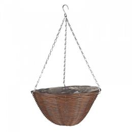 14in Chestnut Faux Rattan Hanging Basket