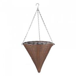 14in Chestnut Faux Rattan Hanging Cone