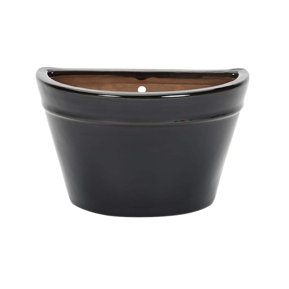 Black Glazed Wall Pot 20cm