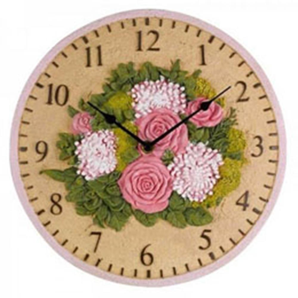 "FLORAL WALL CLOCK 12"" 30cm"