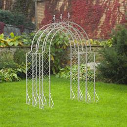 3 Section Lattice Arbour, with Connecting Pieces - White H2.5m W1.8m L205cm SAVE £50