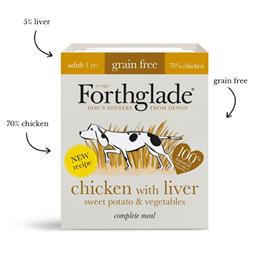 Forthglade Chicken & liver with sweet potato & vegetables natural wet dog food (395g)