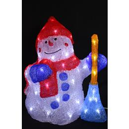 Light up snow man with his broom