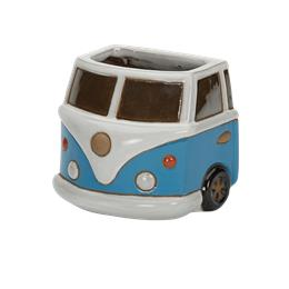 Glazed Blue Camper Van Wall Pot