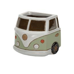 Glazed Green Camper Van Wall Pot