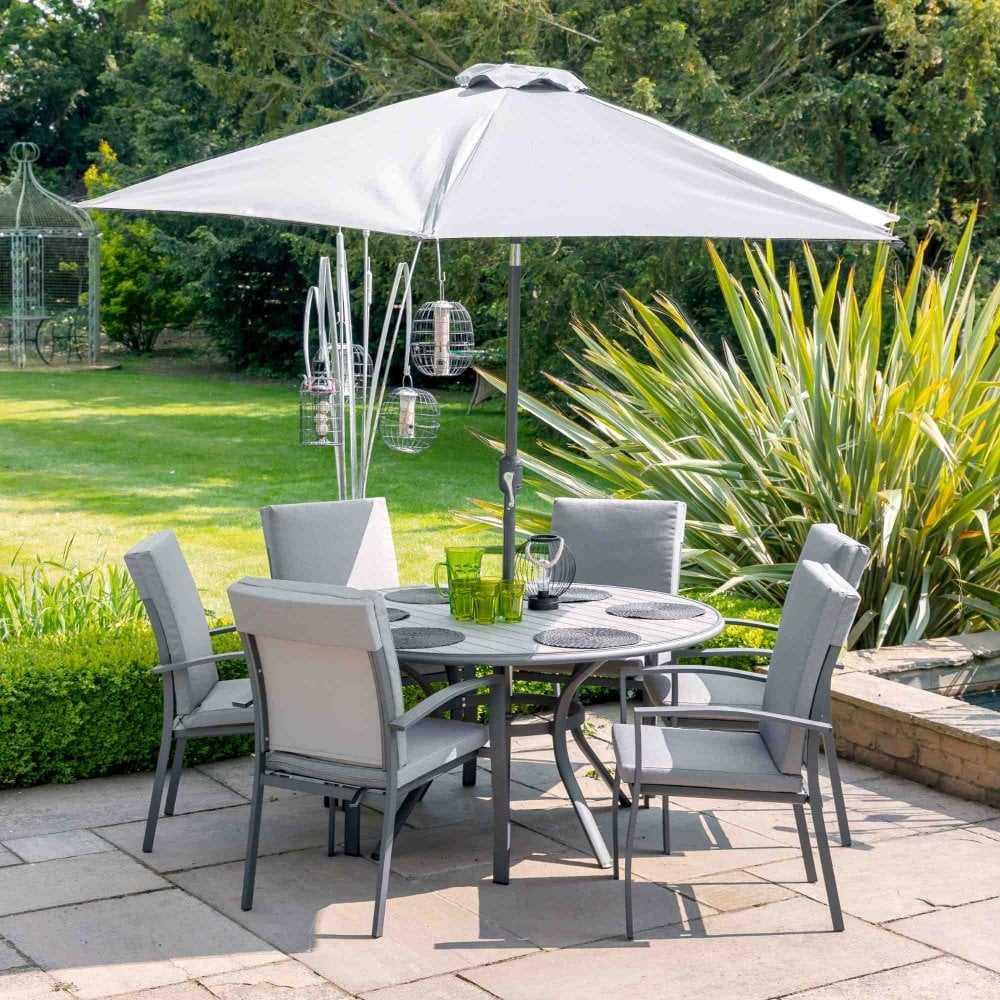 TURIN 6 SEAT DINING SET WITH 3m PARASOL - Garden Furniture ...