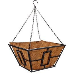 "14"" Contemporary Square Hanging Basket with Coco Liner -  Black"