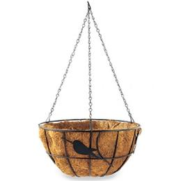 "14"" Perching Birds Hanging Basket with Coco Liner - Black"