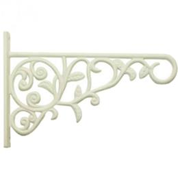 "9"" Cast Aluminum Bracket with Leaves - White"