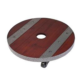 "12"" Round Heavy Weight Wood Plant Caddy"