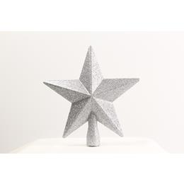 Silver Star Tree Topper 19cm