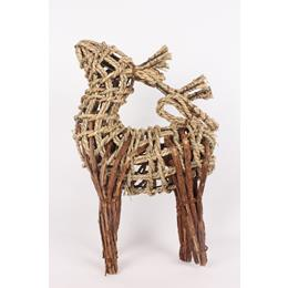 Wooden deer standing decoration