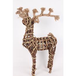 Wooden deer standing ornament